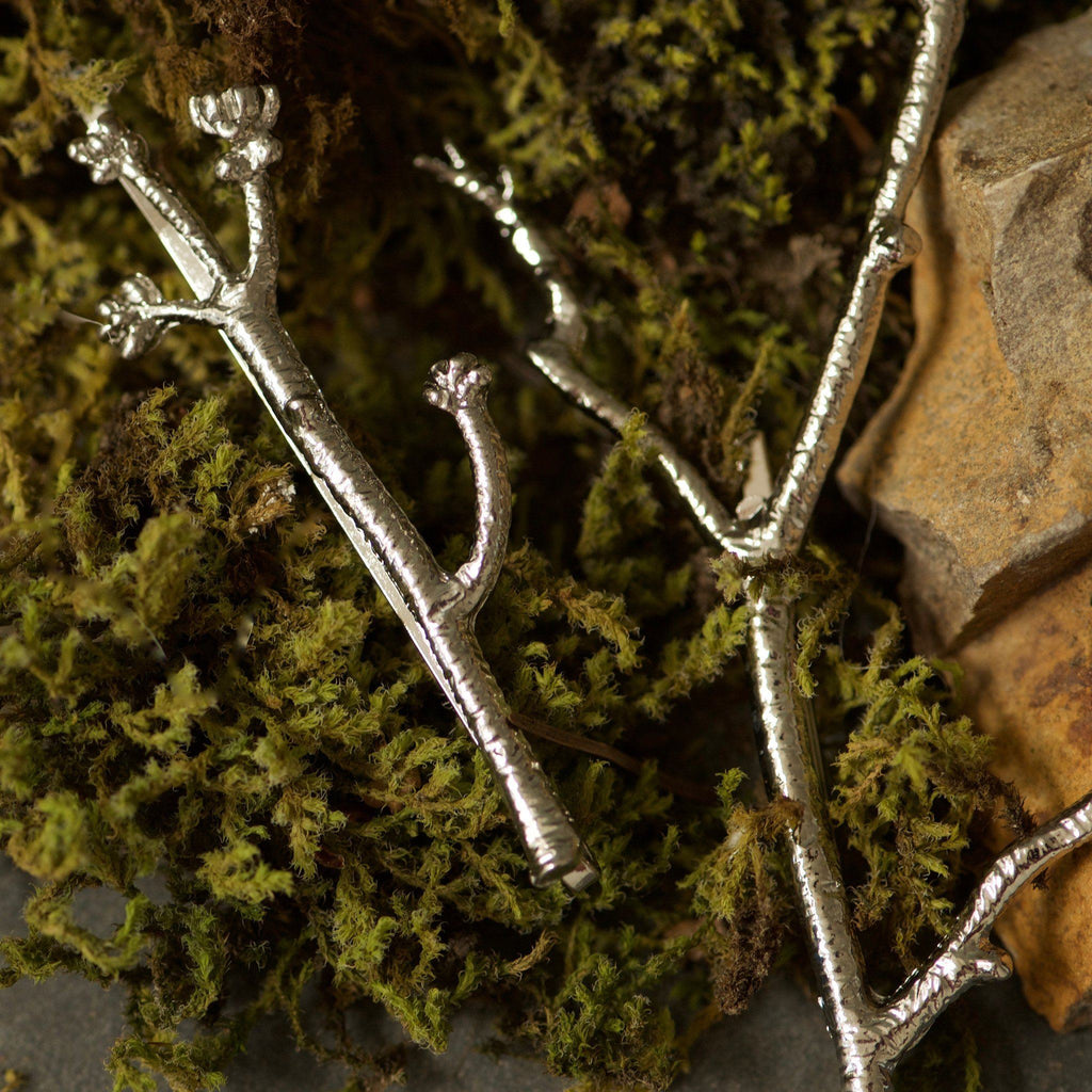 Silver Twig Hair Clips