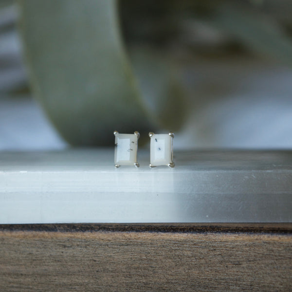 White Rectangle gemstone earrings