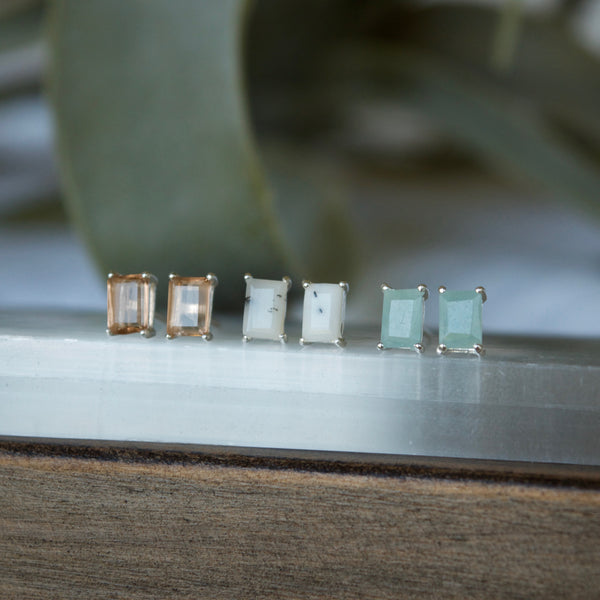 Peach Rectangle gemstone earrings