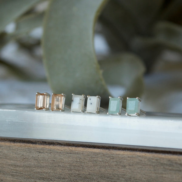 Aqua Rectangle gemstone earrings