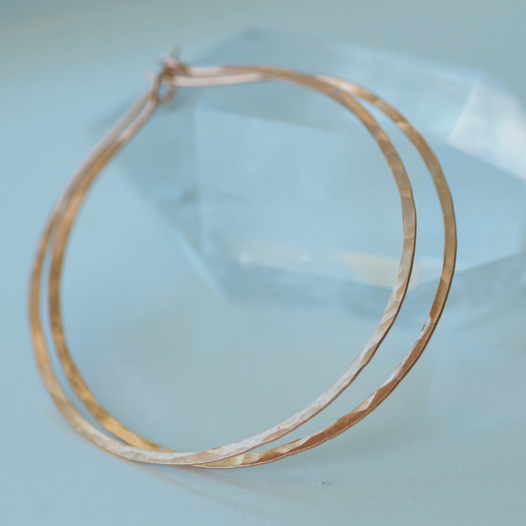 Rose Gold Hammered Hoops Earrings