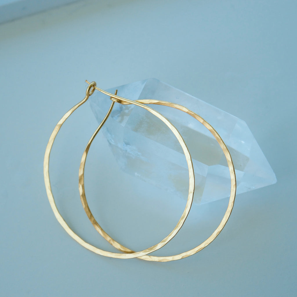 Yellow Gold Hammered Hoop Earrings