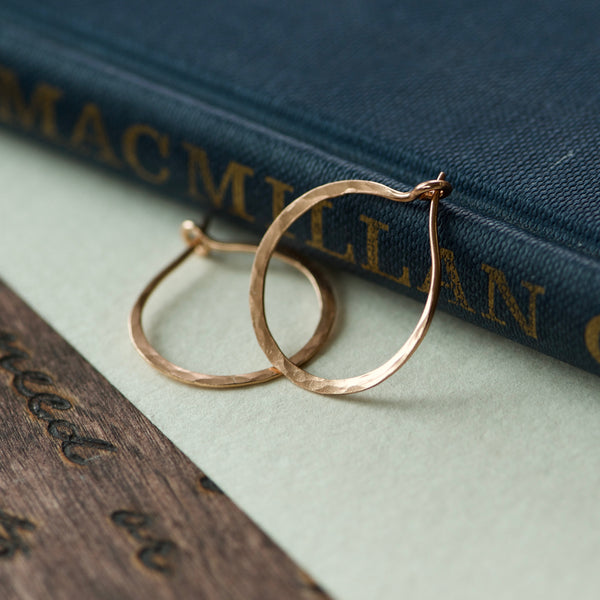 Small Hammered Hoop Earrings