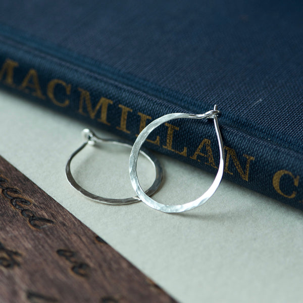 Small Hammered Sterling Silver Hoop Earrings