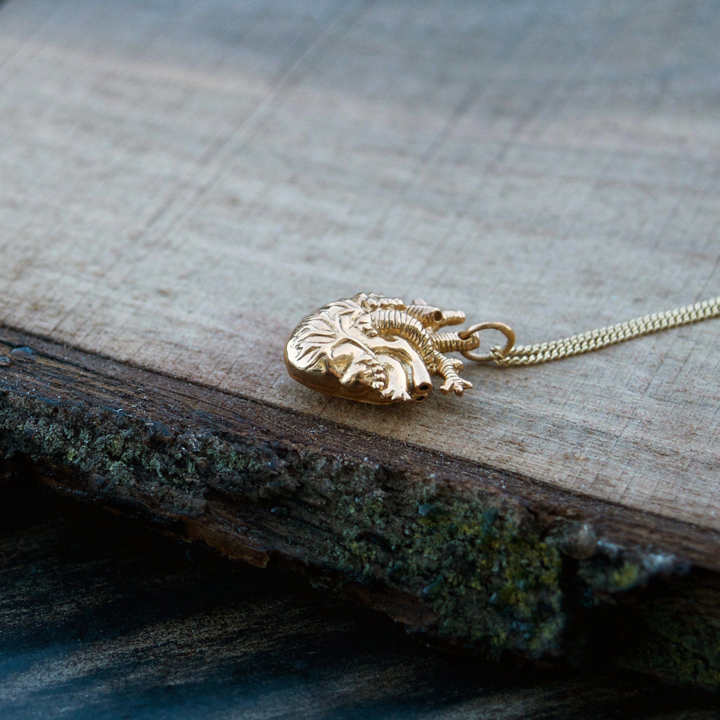 Tiny Gold Anatomical Heart