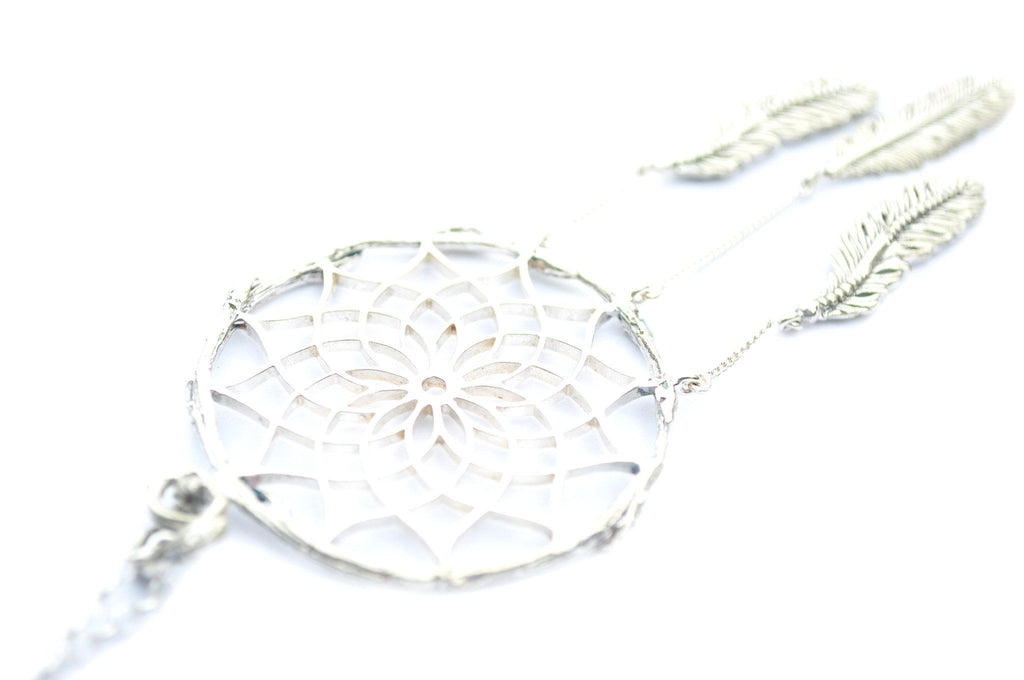silver dream catcher necklace