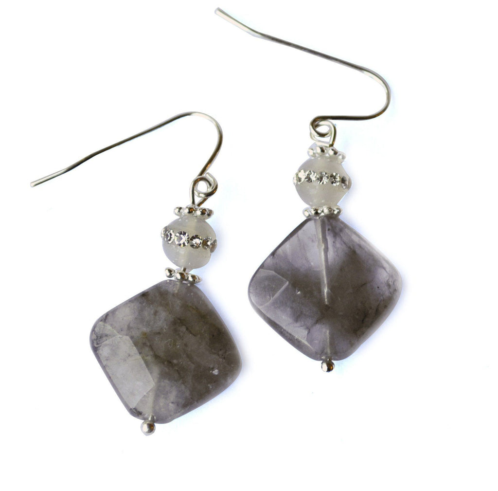Smokey Grey Gemstone Earrings