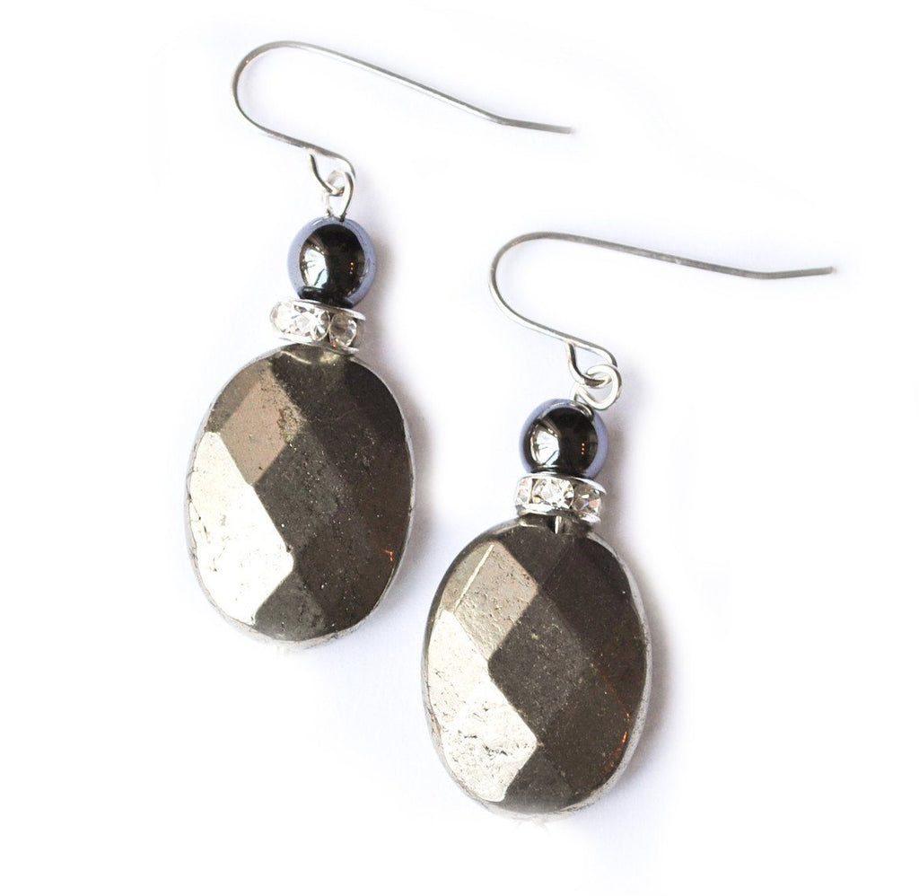 Oval Pyrite Earrings