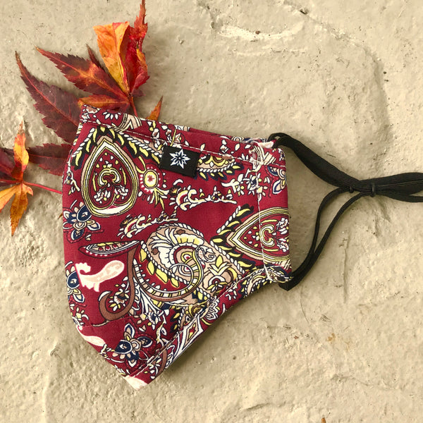 Red Paisley Face Masks - 2 pack