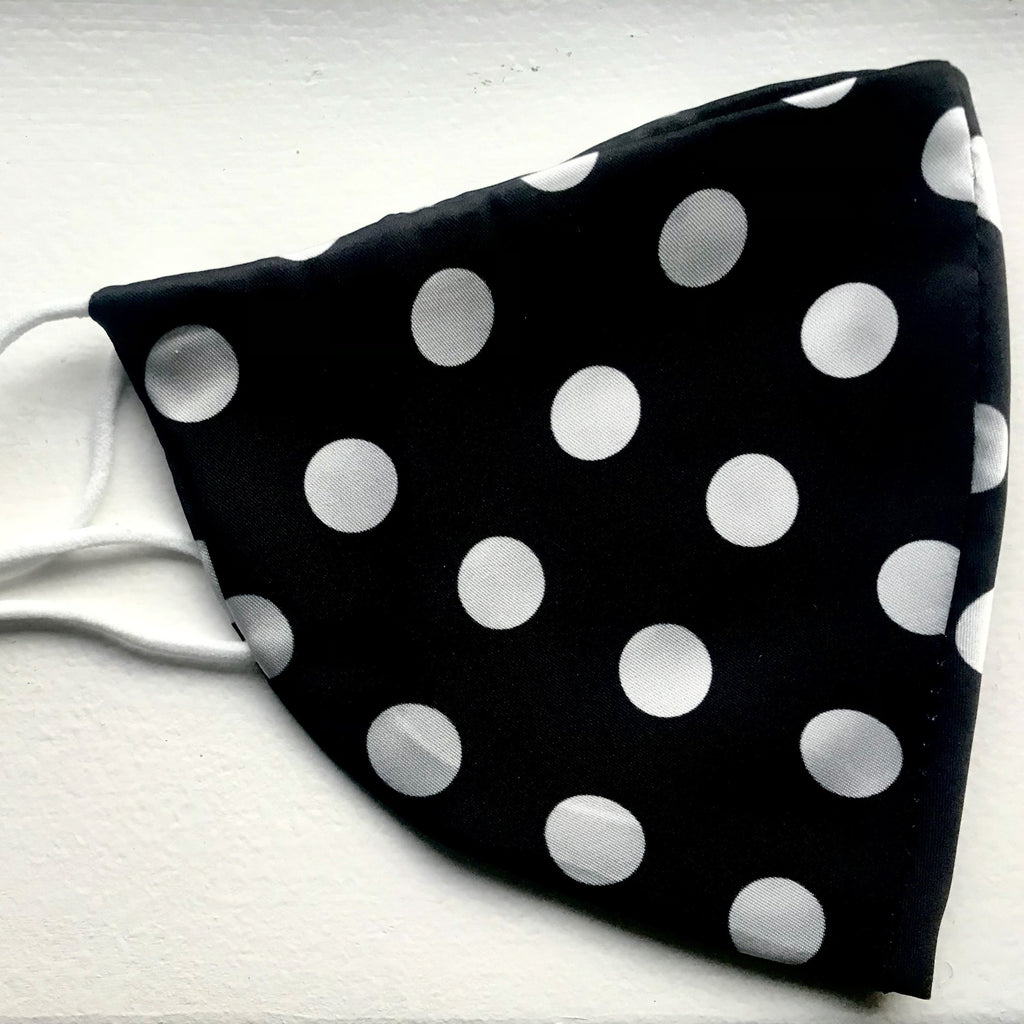 Silky Black Polka Dot Face Mask - 1 pc