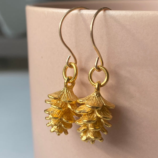 Tiny Pinecone Earrings in Yellow Gold