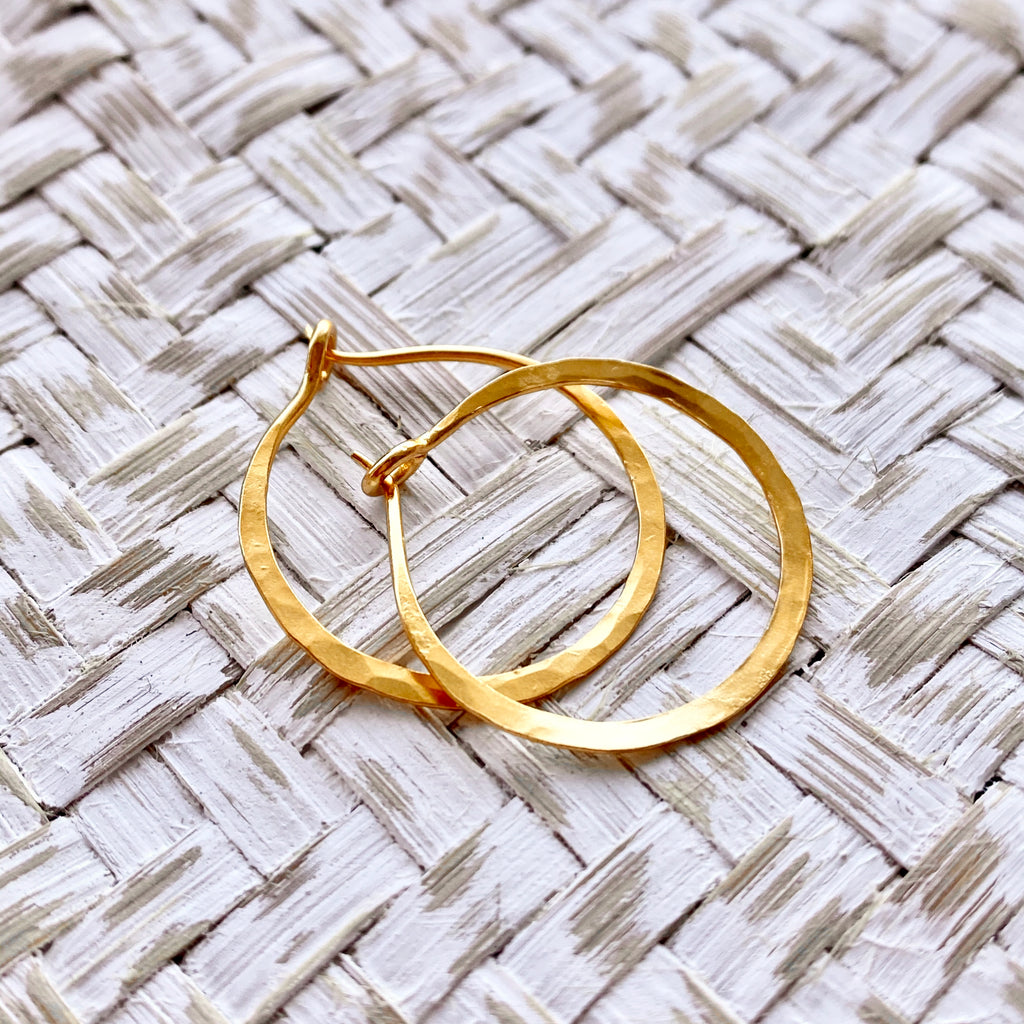 Small Hammered Hoop Earrings Yellow Gold