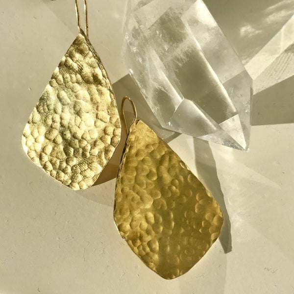 Hammered Brass Asymmetrical Earrings