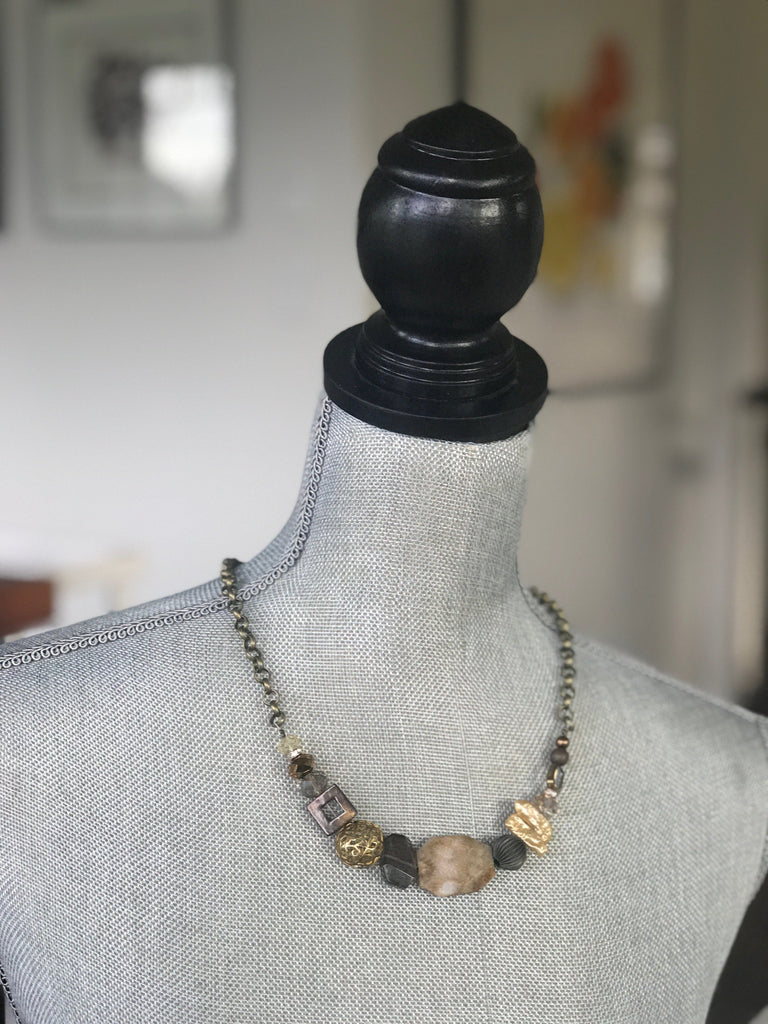 One of a kind gemstone beaded necklace (Gold/ Warm tones)