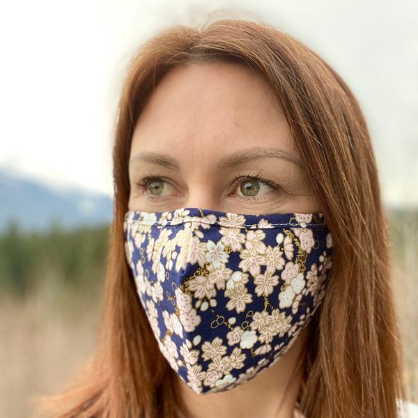 Navy Cherry Blossom  Breathable Mask - 2 pack