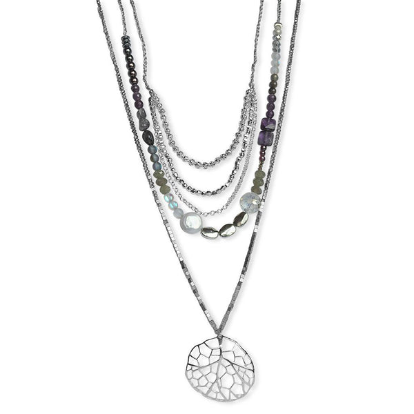 Layered Purple Gemstone Necklace