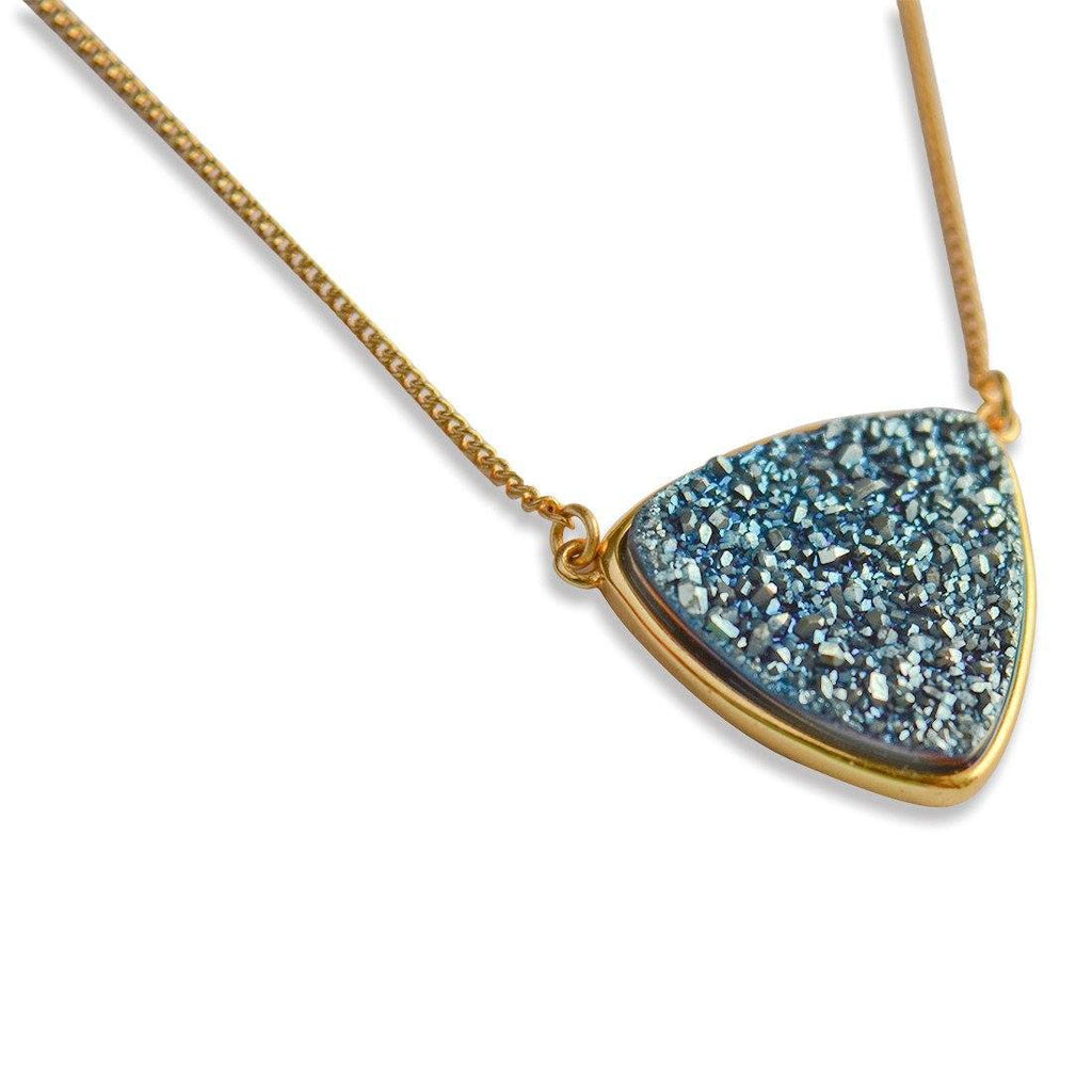 Teal Triangle Druzy Pendant