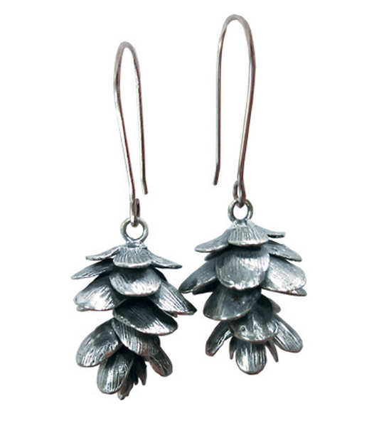 Silver Pinecone Earrings