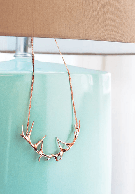 rose bronze deer antler necklace