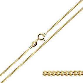 18 Inch gold plated silver fine curb chain