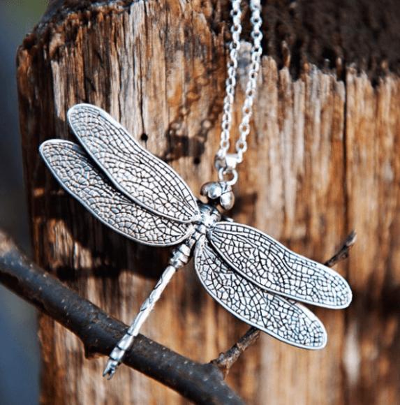 Dragonfly Necklace Silver