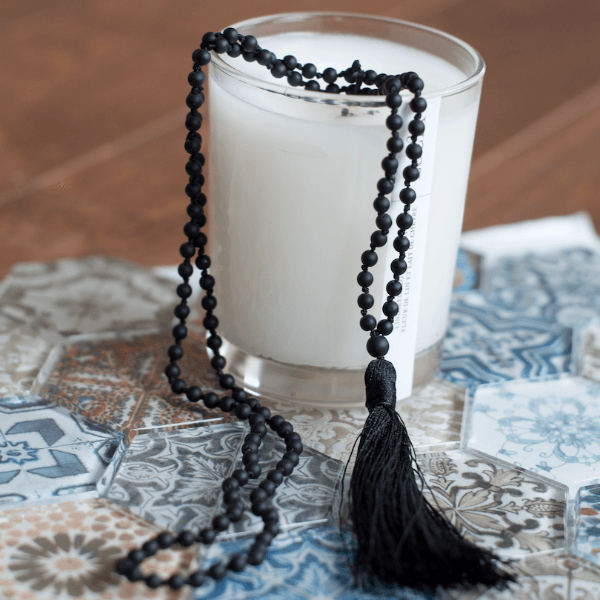 matte black mala necklace