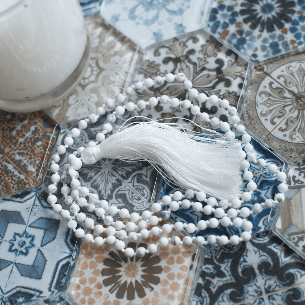 Matte White Mala Necklace