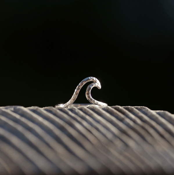 Hammered Wave Ring Sterling Silver
