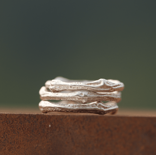 Matte Twig Stacking Ring Silver