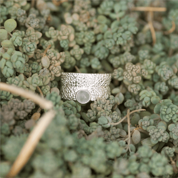 Sage Leaf Moonstone Ring