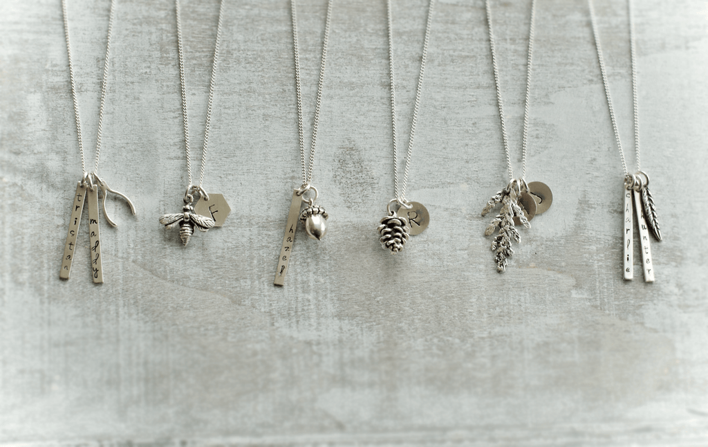 Initial Charm Necklace with Leaf