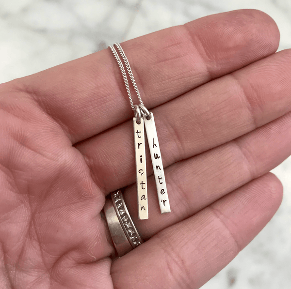 bar name charm necklace