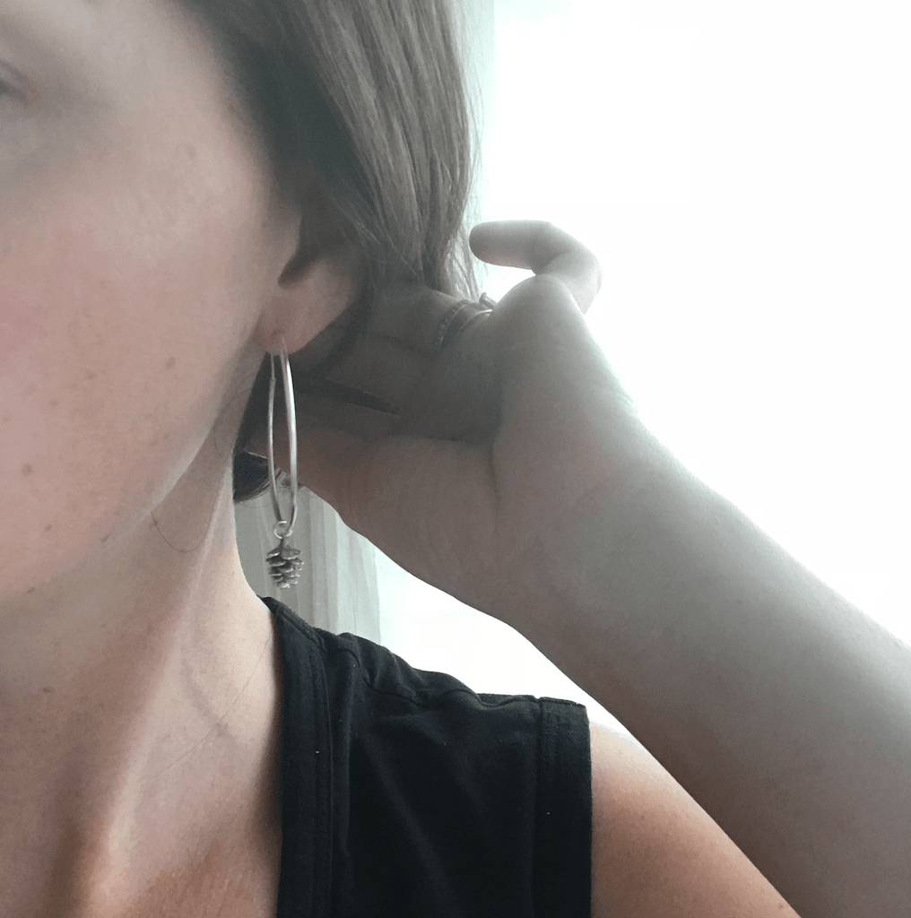 Pinecone Hoop Earrings