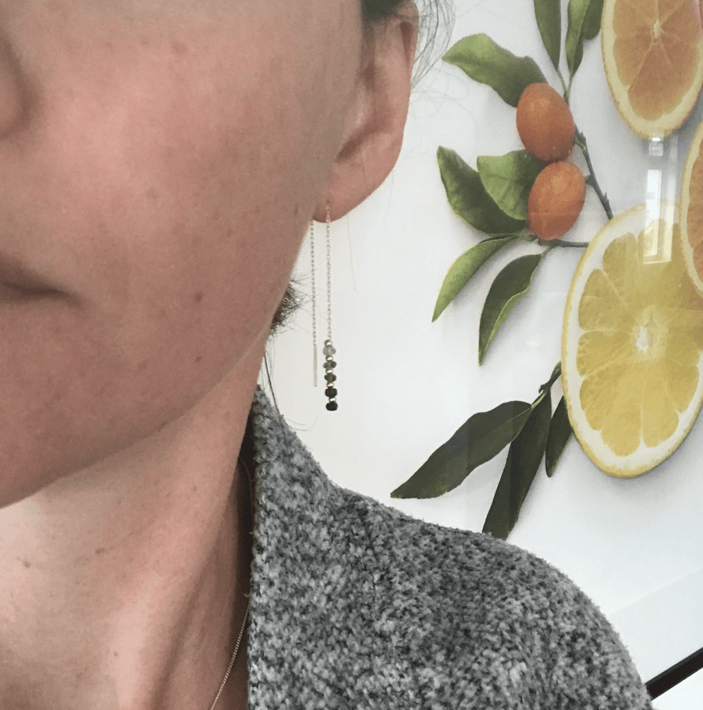 Olive Garnet Drop Earrings