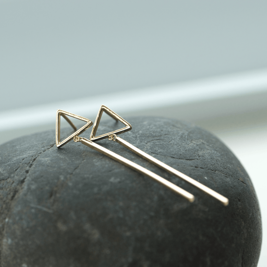 Gold Triangle Post Drop Earrings