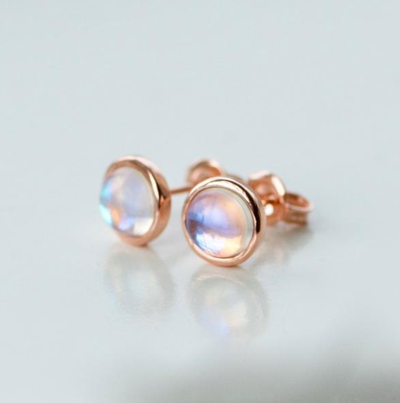 Rose Gold Iridescent Moonlight Studs