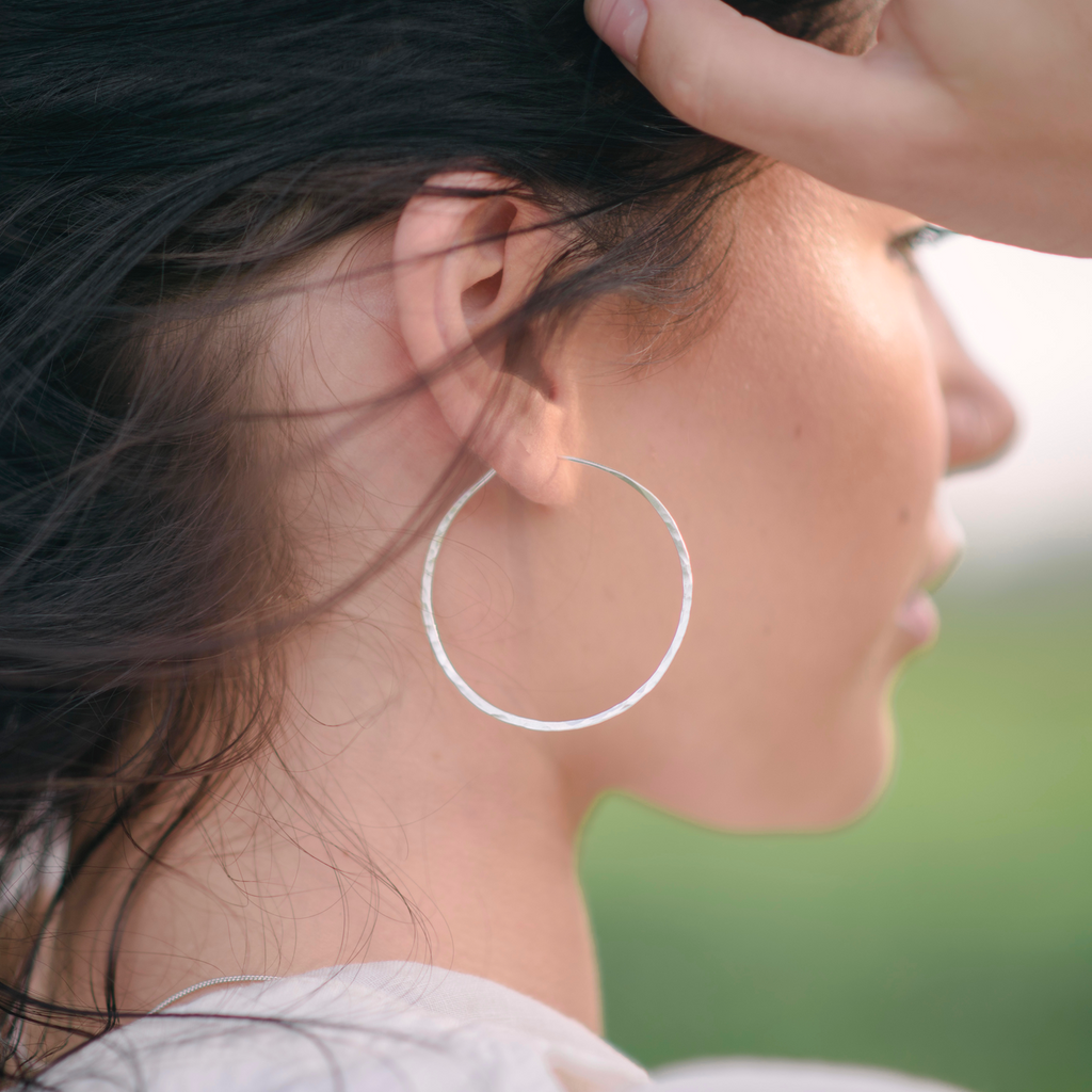 Sterling silver hammered hoop earrings