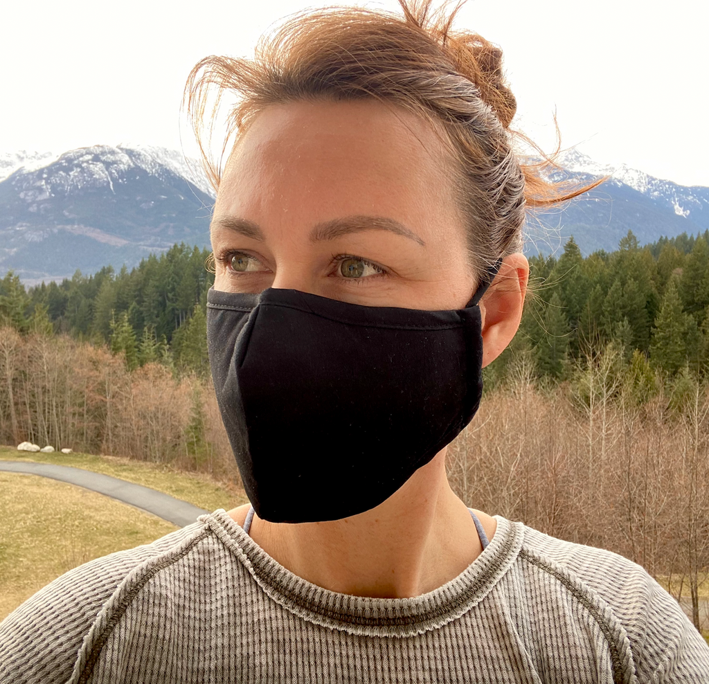 SALE- Breathable Lighter Weight Black Mask, 3 layer - 4 pack