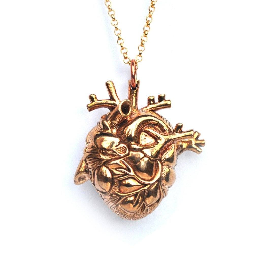 Brass Anatomical Heart Locket