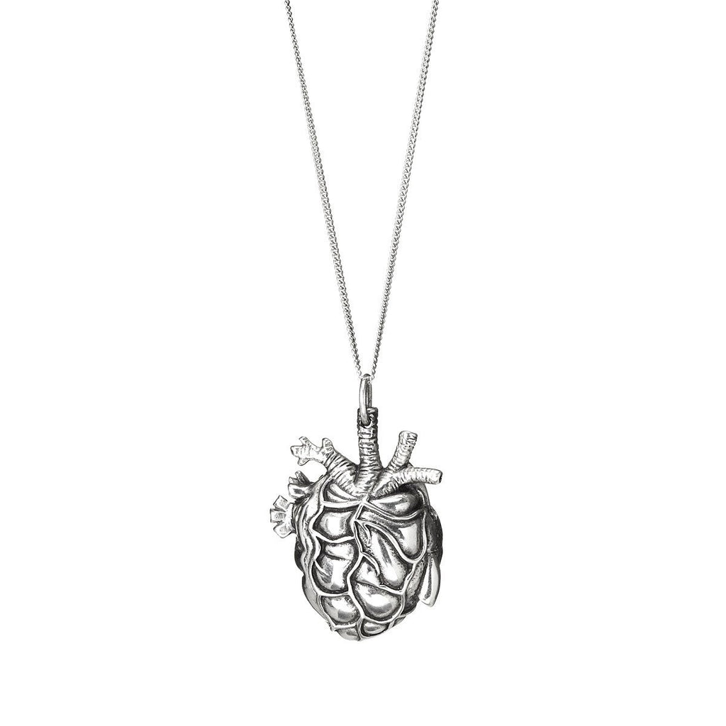 Anatomical Silver Heart Pendant and Necklace