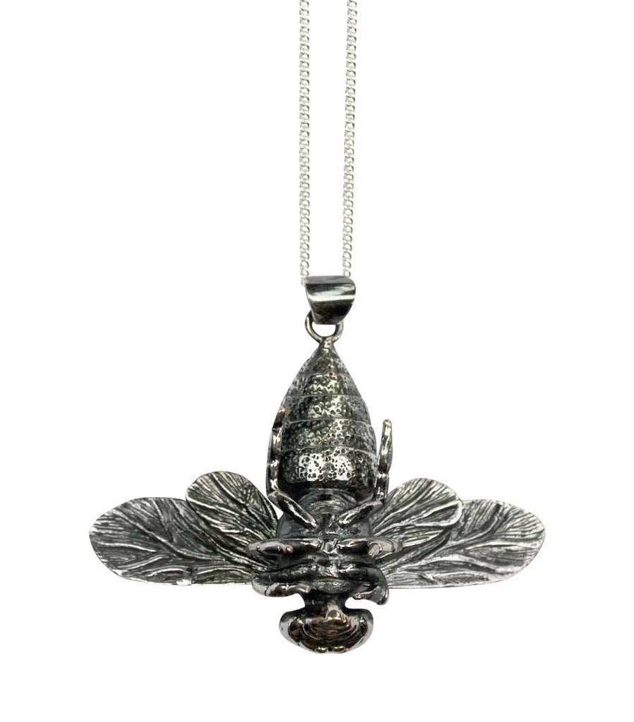 Bee Pendant Silver Back