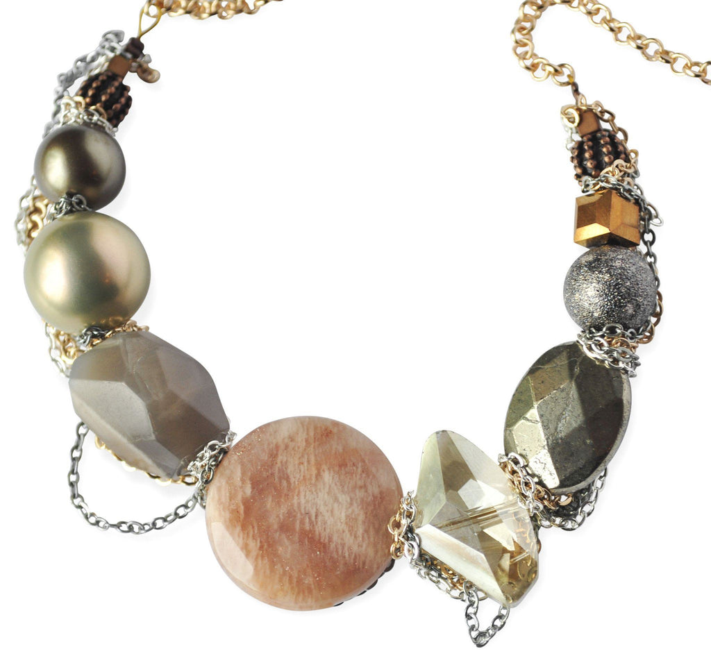 Muted Gemstone Chain Necklace