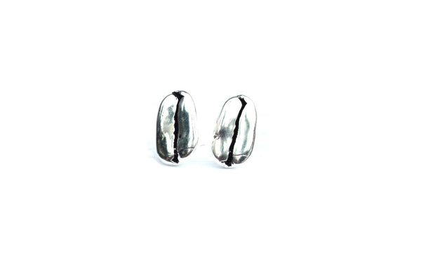 Silver Coffee Bean Earrings