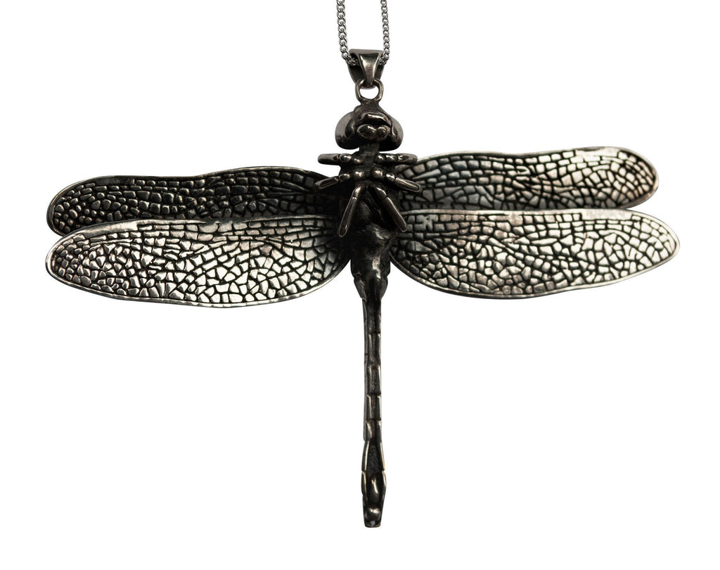 Dragonfly Necklace Silver Front