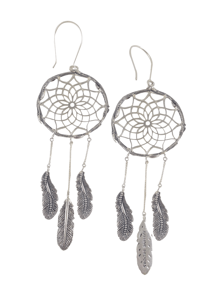 silver dreamcatcher earrings