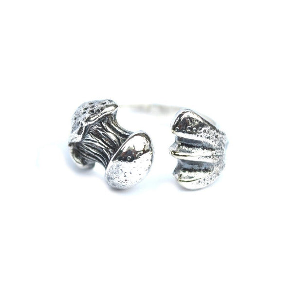 silver femur bone ring