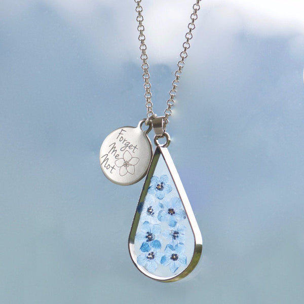 Forget me not tear drop pendant