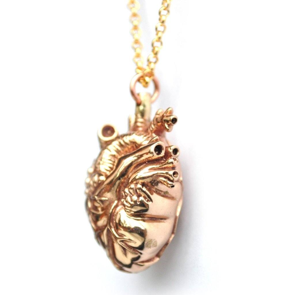 Mini Gold Anatomical Heart Pendant