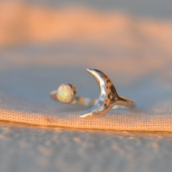 Opal Moon Star Sterling Silver Ring