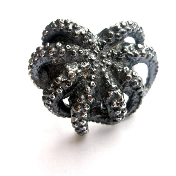 Octopus Ring Silver Front